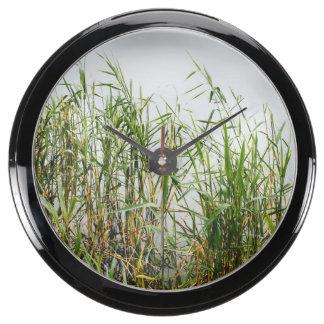 Green Reed Grey Lake Background Nature Aquarium Clocks