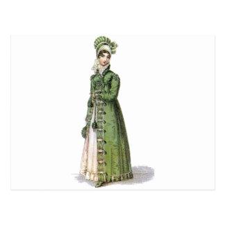 Green Regency Lady Postcard