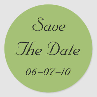 Green Regency Save The Date Wedding Stickers