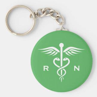 Green registered nurse RN caduceus keychain