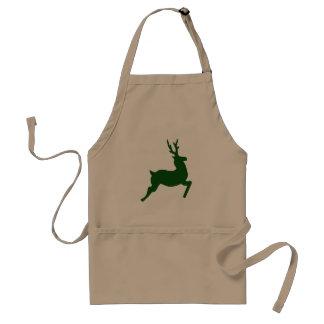 Green Reindeer Adult Apron
