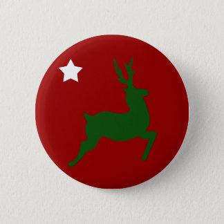 Green Reindeer Button