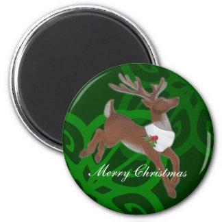 Green Reindeer Magnet