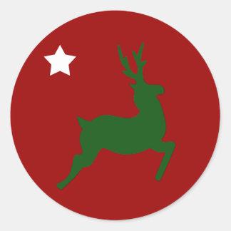 Green Reindeer Round Sticker