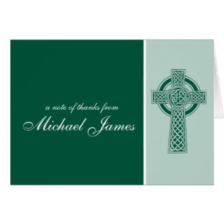 Green Religious Cross First Communion Thank You