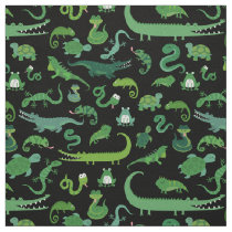 Green Reptile Cute Animals On Black Fabric
