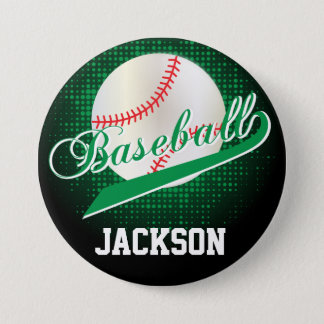 Green Retro Baseball Style Pinback Button