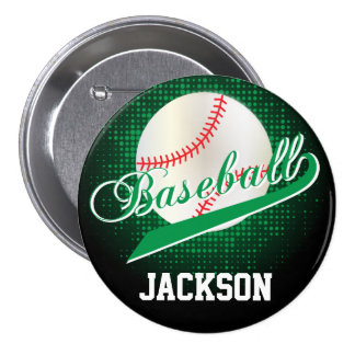 Green Retro Baseball Style Pinback Button