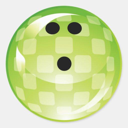 GREEN RETRO BOWLING BALL ROUND STICKER
