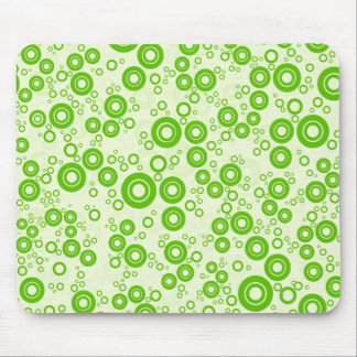 Green Retro Circle Random Pattern Mouse Pad