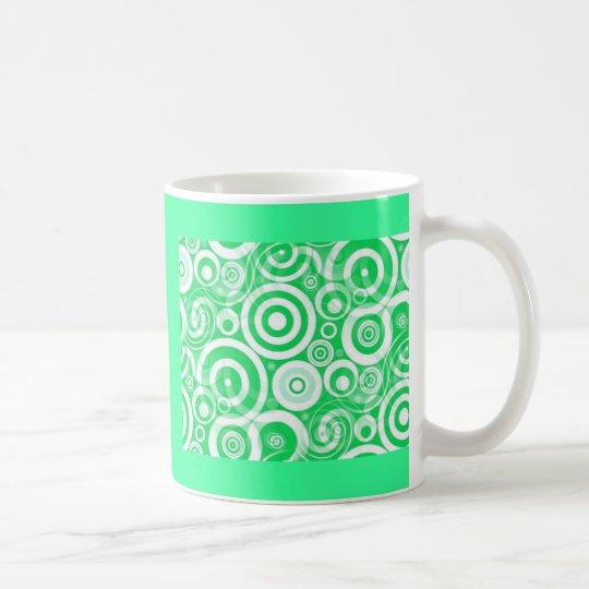 green_retro_circles coffee mug