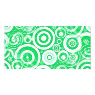 green_retro_circles photo card