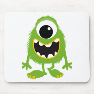 Green Retro Cute Monster Mouse Pads