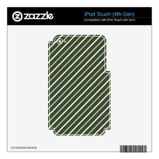 Green Retro Diagonal Stripes iPod Touch 4G Decal