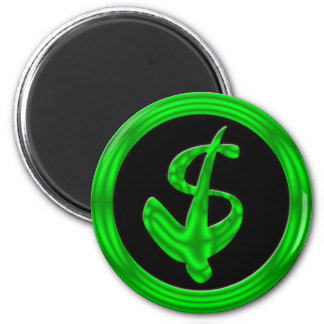 GREEN RETRO DOLLAR SIGN 2 INCH ROUND MAGNET