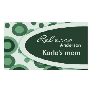Green Retro Dots Mommy  Calling Cards Business Card