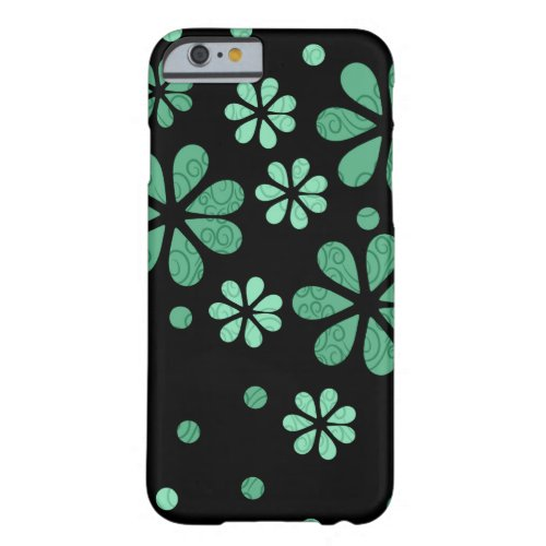 Green Retro Flowers On Black Barely There iPhone 6 Case