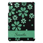 Green Retro Flowers On Black iPad Mini Cases
