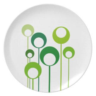 green retro flowers plate