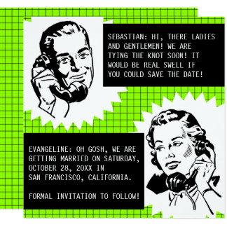 Green Retro Gossip Couple Save the Date Card