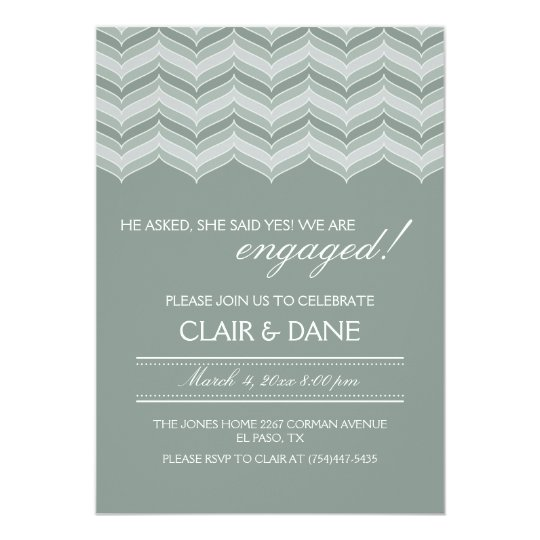Green Retro Pattern Engagement Party Invitation