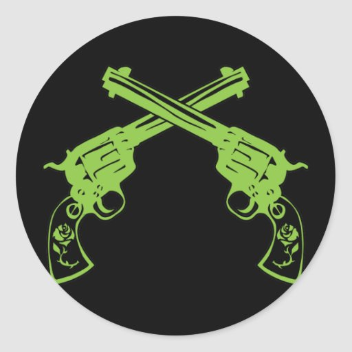 Green Retro Pistols Classic Round Sticker