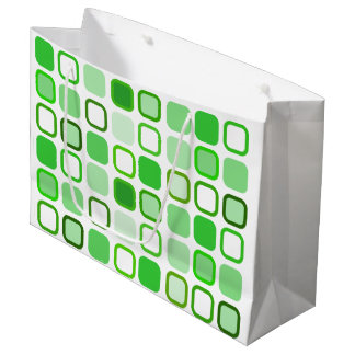 Green Retro Squares Large Gift Bag