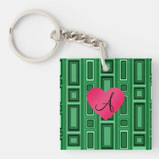 Green Retro squares monogram Single-Sided Square Acrylic Keychain