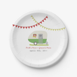 Green Retro Trailer Wedding Paper Plate