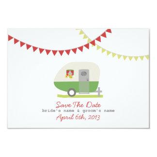 Green Retro Trailer & Wedding Save The Date 3.5x5 Paper Invitation Card
