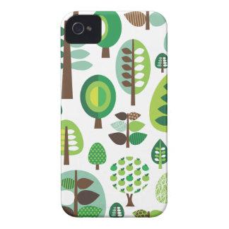 Green retro trees and plants blackberry case