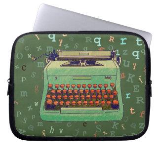 Green Retro Typewriter on Rays Background Case Laptop Computer Sleeves
