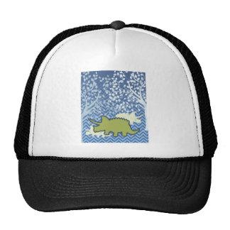 Green Rhinosaur on Zigzag Chevron - Blue and White Trucker Hat
