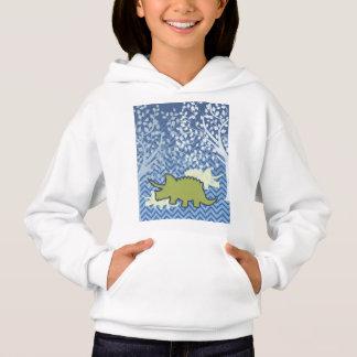 Green Rhinosaur on Zigzag Chevron - Blue and White Hoodie