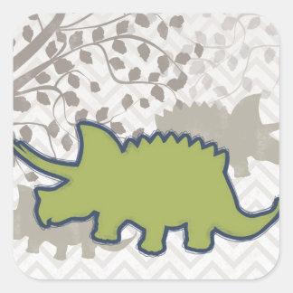Green Rhinosaur on Zigzag Chevron - Mono Square Sticker