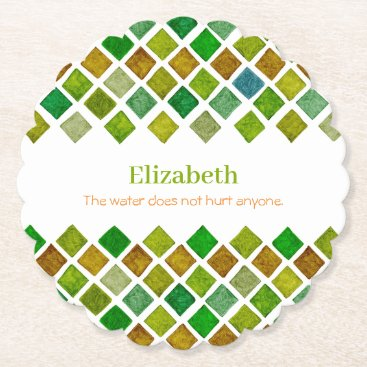 Green Rhombuses Paper Coaster