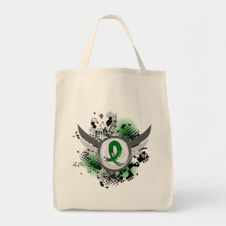 Green Ribbon And Wings Cerebral Palsy Grocery Tote Bag