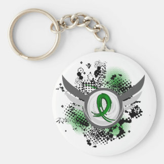 Green Ribbon And Wings Cerebral Palsy Basic Round Button Keychain
