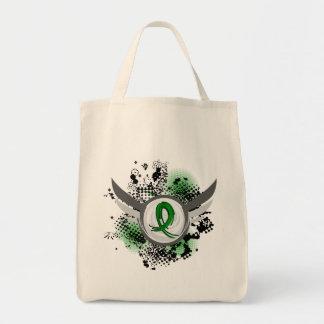 Green Ribbon And Wings Kidney Disease Canvas Bag