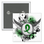 Green Ribbon And Wings Kidney Disease Pinback Button