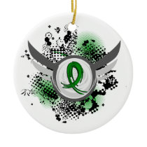 Green Ribbon And Wings Kidney Disease Ceramic Ornament