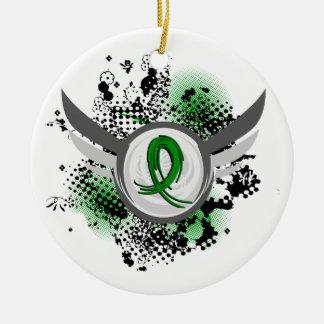Green Ribbon And Wings Kidney Disease Ceramic Ornament