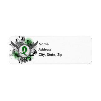 Green Ribbon And Wings Kidney Disease Label
