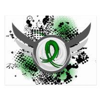 Green Ribbon And Wings Kidney Disease Postcard