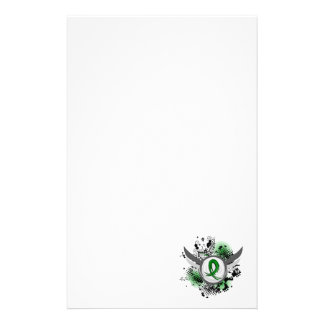 Green Ribbon And Wings Kidney Disease Stationery