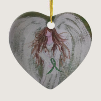 Green Ribbon Angel.jpg Ceramic Ornament