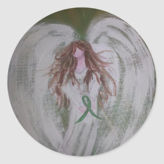 Green Ribbon Angel.jpg Classic Round Sticker