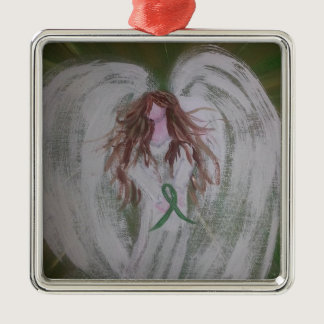 Green Ribbon Angel.jpg Metal Ornament