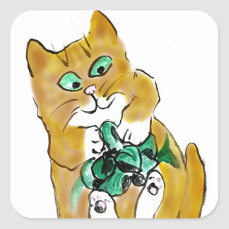Green Ribbon Attack by Kitten Square Sticker