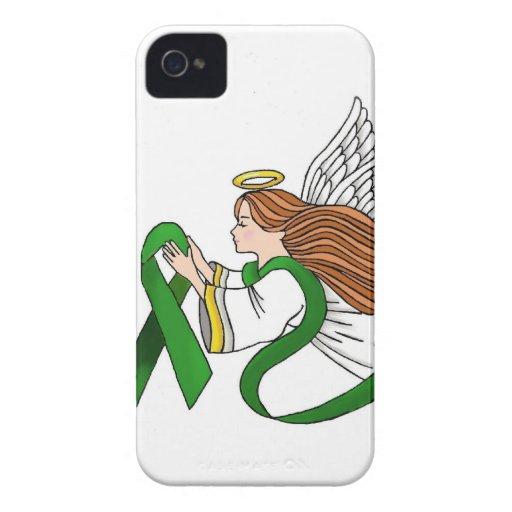 """Green Ribbon"" Awareness Angel iPhone 4 Case"